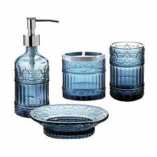 4Pc Blue Clear Glass Bathroom Accessory/Accessories Set w Soap Dispenser & Dish