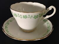 ENGLISH CASTLE CUP & SAUCER GREEN FLORAL GOLD ACCENTS SCALLOPED VINTAGE