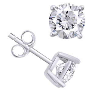 Sterling Silver 4 Prong Swarovski Pure Brilliance CZ Stud Earrings 1.0 to 8.0ctw