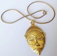 collier chaîne ronde pendentif rétro masque indigène en relief couleur or 5309