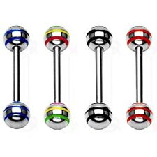 4 lot STRIPED Stainless TONGUE RINGS Straight Bar BARBELL Body Piercing Jewelry