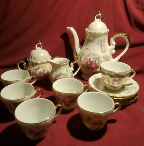 Childrens Miniature Tea Set w/ 6 cups & saucers, white lusterware gold rimmed