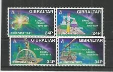 GIBRALTAR 1994 EUROPA SCIENTIFIC DISCOVERIES SG,717-720 U/MM N/H LOT 4444A