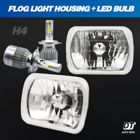 "7""X6"" inch Sealed Beam Headlight Conversion Chrome + 100W H4 CREE LED Kit"