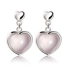 Pink Heart Rose Quartz Stud Earrings 925 Sterling Silver Womens Jewellery Gift
