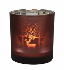 Table Tech Redwood Glass Votive Candle Holder Red Christmas Xmas Stag Winter Red