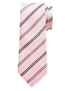 NWT Banana Republic Pale Pink Silk - Linen Double Stripe Tie