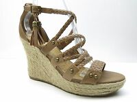G by GUESS Brown Ankle Strap Espadrille Wedge Sandals Pumps Heels 9M 9