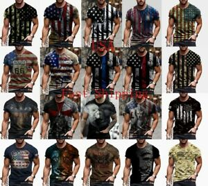 Men T-Shirt USA Flag Graphic Tactical Patriotic Fitness Vintage Short Sleeve Tee
