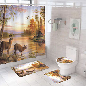 Deer Shower Curtain Bathroom Rug Set Thick Bath Mat Non-Slip Toilet Lid Cover