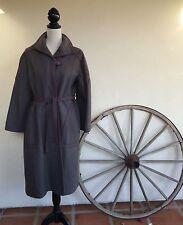 GERMAN WOOL Heavy Loden Gray Burgundy Winter Military Look Long Coat Lined Sz 12