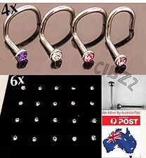 10x Nose Ring Studs - 2 Style Gift PACK Hook Twist & Pin Bar Piercing Rhinestone
