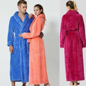 Luxury Womens Mens Thermal Coral Flannel Dressing Gowns Super soft Bath Robes