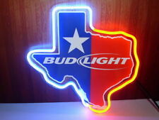 """New Bud Texas Lone Star Neon Light Sign 14""""x10"""" Beer Cave Gift Real Glass"""