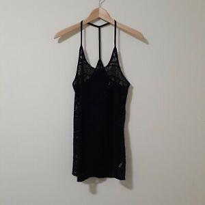 Victoria Secret PINK Black Zigzag Crochet Lace Swim Cover-Up Size XS