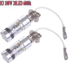 2x H3 100W DC 12V Bright White LED 20SMD Car Fog Light DRL Daytime Driving Bulbs