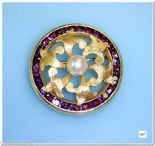 Vintage Fleur de Lis Lucien Piccard Swiss 14K Y Gold PEARL AMETHYST Brooch Pin