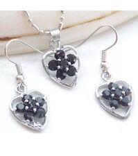 Black Onyx Heart Flower Silver Necklace Earring Prom Wedding Dress Jewelry Set