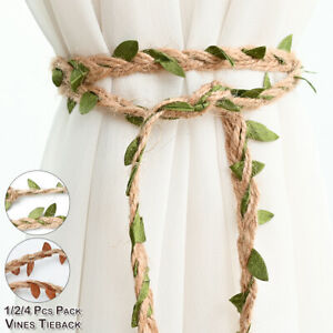 2X Twisted Boho Vines Rope Curtain Tie Backs -Tiebacks Holdbacks Curtain & Voile
