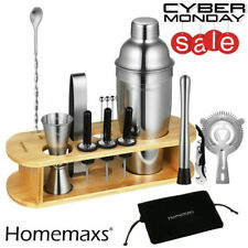 17Pcs Bartender Kit Cocktail Shaker Set Stainless Steel Bar Tools w/Bamboo Stand