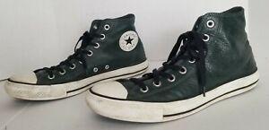 Converse All Star Chuck Taylor Hi Dark Green Scarab Leather High Tops Men's 10
