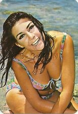 1977 Spanish Semi Nude Pin Up Calendar- Brunette at the Beach- Bikini- All Wet