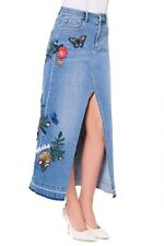 MISS SIXTY FRANCISCO DENIM SKIRT WITH EMBROIDERY - Size UK-S