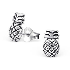 Sterling Silver 925 Pineapple Fruit Stud Earrings