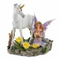 Forest Magic Figurine Fairy with Butterfly and Unicorn Statue