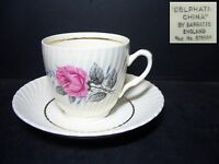 BEAUTIFUL BARRATTS CUP & SAUCER - PATTERN BTT18 - DELPHATIC -craz/stain [3]