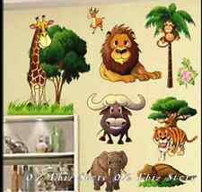 Animals Monkey Giraffe Lion Elephant Tiger Tree Removable Wall Sticker Kids Room