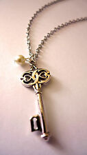 Vintage Love Key Charm Necklace-Pearl Boho Antique Silver Jewellery Jewelry