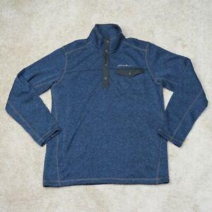 Eddie Bauer Fleece Jacket Mens M Medium Blue 1/4 Snap Long Sleeve Pocket