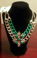 BOLD FASHION FLORAL RHINESTONE CHAIN NECKLACE SET