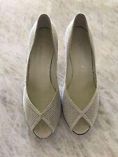 BRUNO MAGLI Peep Toe Ivory Beige  Suede Heels 9
