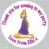 35 Personalised Rapunzel Princess Tangled Birthday Stickers Party Bag Cone -071