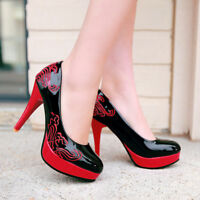 Retro Women's Embroidered Stiletto Platform High Heel Court Pumps Shoes Slip On