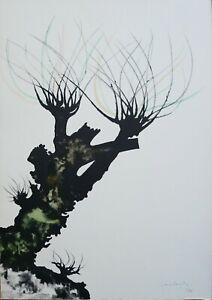 Carlo Mattioli litografia colorata a mano Alberi II1976 65x46 firmata pubblicata