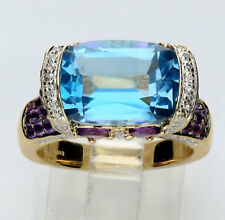 Diamond blue pink topaz amethyst ring 14K yellow gold oval marquise round 8.50C