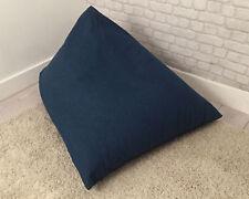 Blue Denim Look Filled Bean Bag Scrunchie Lounger Wedge Childrens Cotton Chair