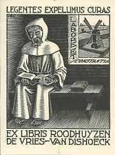 ORIGINAL PRINT ESCHER B325 Bookplate de Vries-Van Dishoeck Wood Engraving 1942