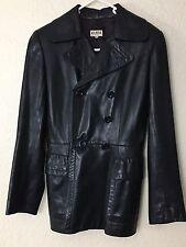 ALAIA Womens VINTAGE Black Leather Double Breasted Jacket Coat Sz 40  Paris