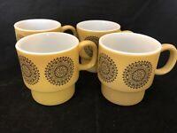 VINTAGE GLASS mid-century modern mugs set of four maybe Fireking