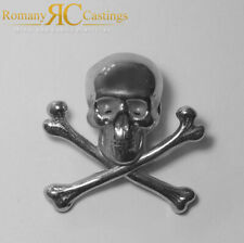 925 Skull and Cross Bones Pin Badge Solid Sterling STAMPED 925 Silver 6.25g