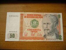 1987 PERU. BANCO CENTRAL DE RESERVA DEL PERU 50 CINCUENTA INTIS Banknote