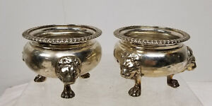 Antique English Style Silverplate Master Salts Lions Face Claw Feet Sheffield