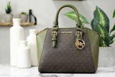 Michael Kors Ciara Medium Saffiano Leather Satchel - Brown/Green