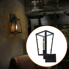 Outdoor Vintage Glass Lampshade+ metal Wall Sconce Porch Yard Lamp Black
