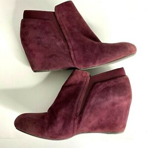 Gentle Souls Ankle Boots Shoes Sz 9.5 US Burgundy Suede Leather Wedge Equestrian