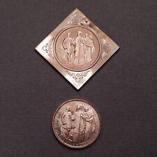 - 1935 Hungary 2 Pengo ARTEX Pattern Proof Restrike & Klippe Set of 2 - Pazmany
